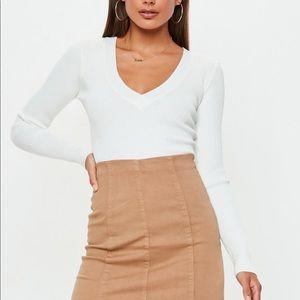 White VNeck Knit Bodysuit